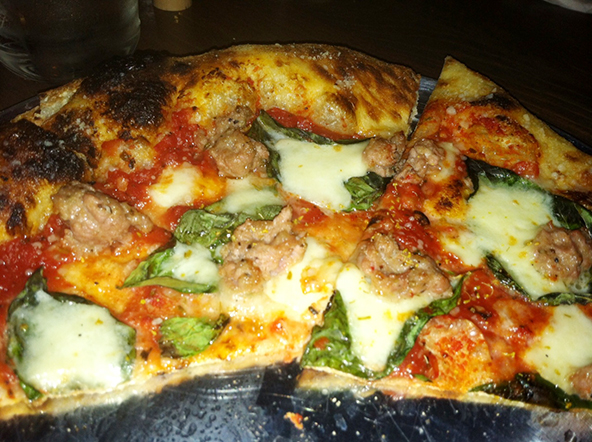 Harvest's margerita pizza + sausage.