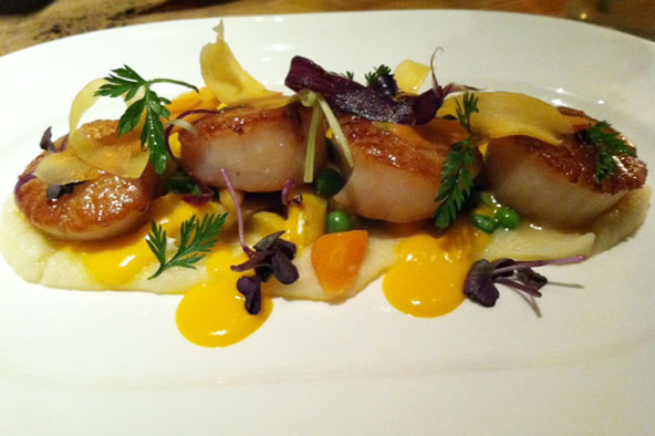The Guild House's scallops with English peas, and parsnip purée.