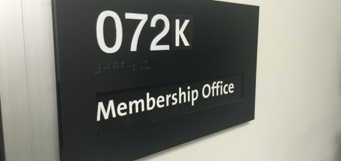 Membership Office sign