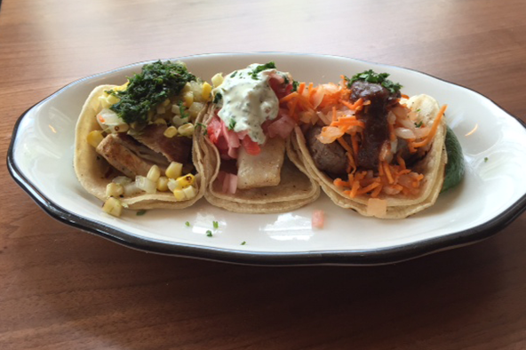 The taco trio at the Crest's new Parsons Avenue location. Photo: Steve Stover