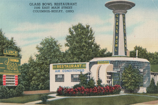 Tourists flocked to the Glass Bowl Restaurant on Main Street in Bexley because of its unusual building design that featured an inverted champagne goblet. The hamburger stand was open from 1938-1968.
