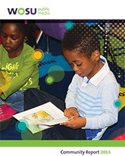 WOSU 2015 Community Report Cover - preschool student reading book
