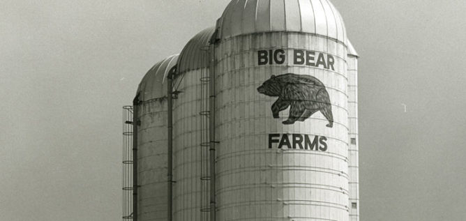 Silos at the former Big Bear Farms in Powell, Ohio.