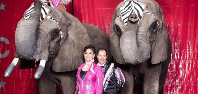 Circus Pages performers stand with elephants Daisy and Bambi. The circus applied for a permit to perform at the Delaware County Fair. CIRCUS PAGES