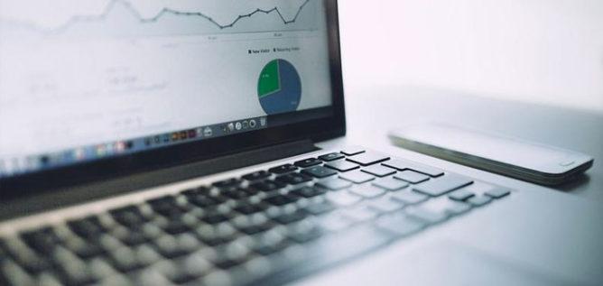 Data analytics displayed on a laptop