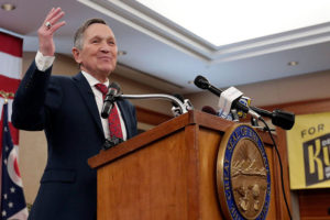 Former U.S. Rep. Dennis Kucinich speaks during a news conference announcing his run for Ohio governor, Wednesday, Jan. 17, 2018.