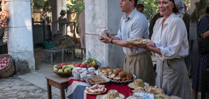 Callum Woodhouse as Leslie Durrell and Keeley Hawes as Louisa Durrell in the Durrels in Corfu Season 2 Episode 1
