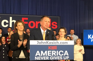 John Kasich speaks to supporters after the Michigan primary.