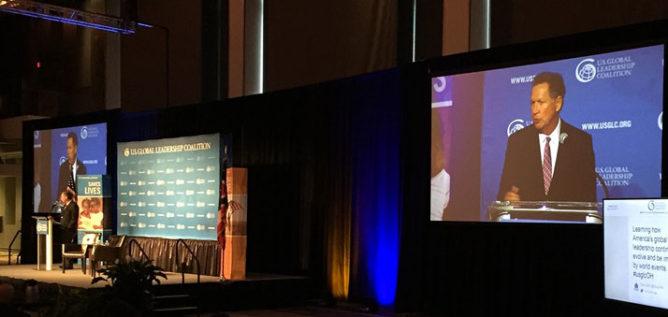 Gov. Kasich addressing the Global Leadership Coalition. ANDY CHOW / OHIO PUBLIC RADIO
