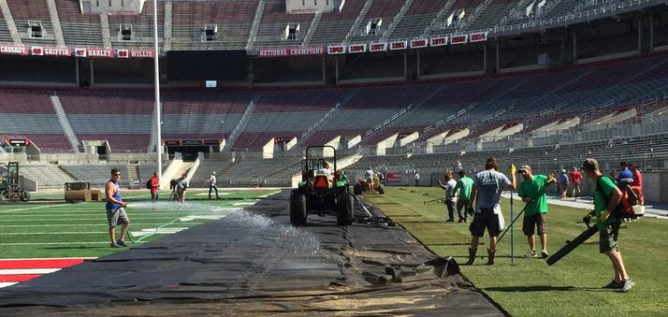 Crews are laying down sod for an international soccer match at Ohio Stadium. TWITTER / THE SCHOTT
