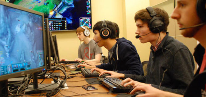 Members of the Ohio State team practice for an upcoming Big Ten League tournament for League of Legends. GABRIEL ROSENBERG FOR NPR