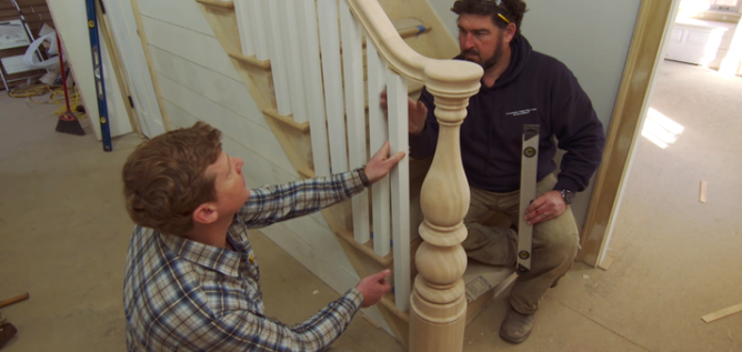 This Old House - North Shore Farmhouse work on a staircase.