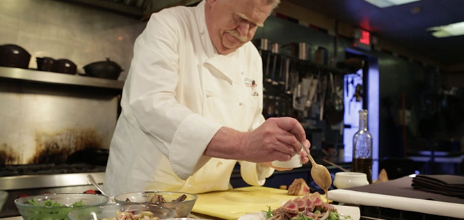 Chef Hubert Seifert in the kitchen of Spagio
