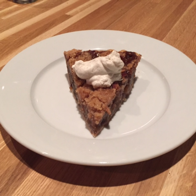 Homefare's bourbon apple pie with vanilla bean whipped cream.