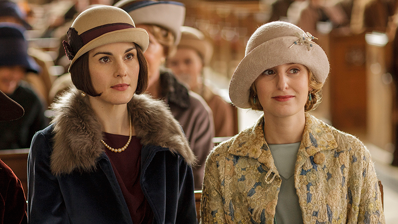 "Lady Mary and Lady Edith on Masterpiece's ""Downton Abbey, The Final Season."""