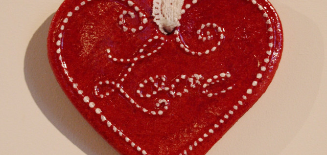 Valentine red heart with Love written on it