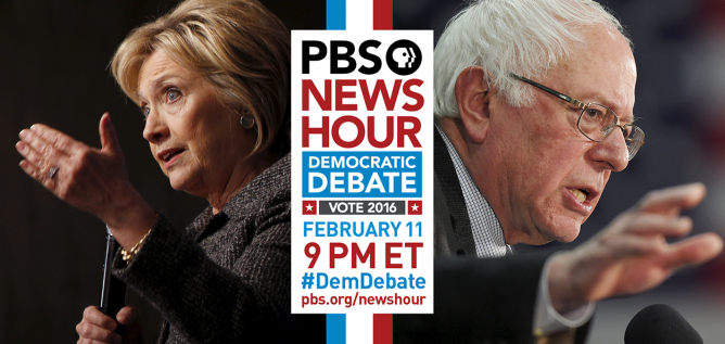 PBS Newshour Democratic Debate featuring Hillary CLinton and Bernie Sanders
