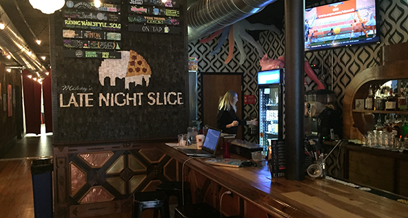 he menu and bar at Mikey's Late Night Slice downtown Columbus location on South Fourth Street.