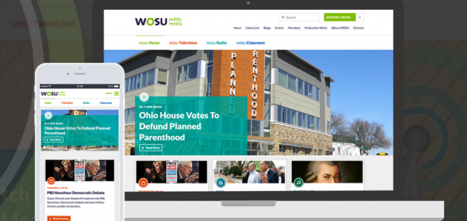 Screenshot of WOSU's new website on a desktop and smartphone browser