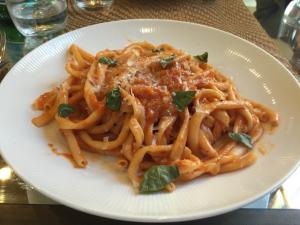 Bucatini della nonna, heirloom tomato butter, and garlic at Trentina in Cleveland.