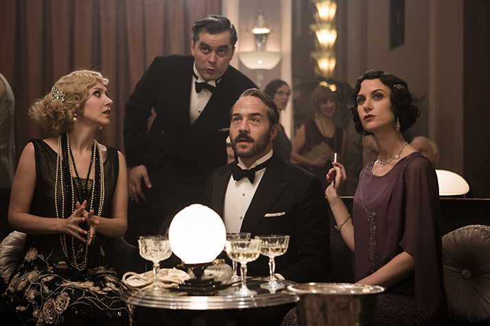 Shown from left to right: EMMA HAMILTON as Rosie Dolly, TRYSTAN GRAVELLE as Victor Colleano, JEREMY PIVEN as Harry Selfridge, KATHERINE KELLY as Lady Mae in Mr Selfridge. Credit: Courtesy of © ITV Studios Limited 2016 for MASTERPIECE