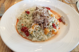Duck confit over risotto at Copious.