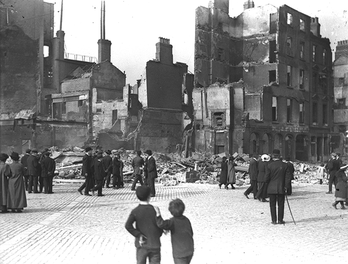 Destruction caused by the Easter Rising, 1916 in Dublin, Ireland.