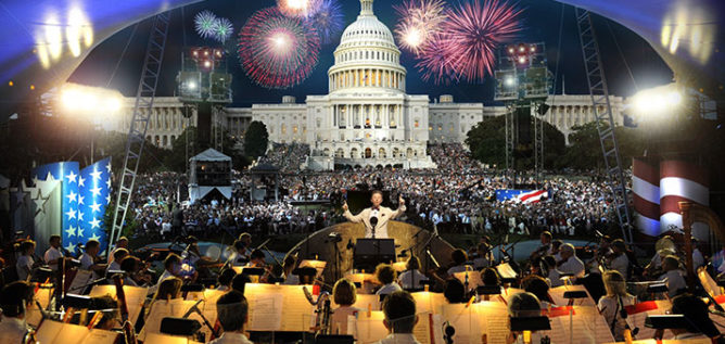 The nation's premiere Independence Day holiday concert is viewed by millions at home and attended by hundreds of thousands of people on the West Lawn of the Capitol in Washington, DC.