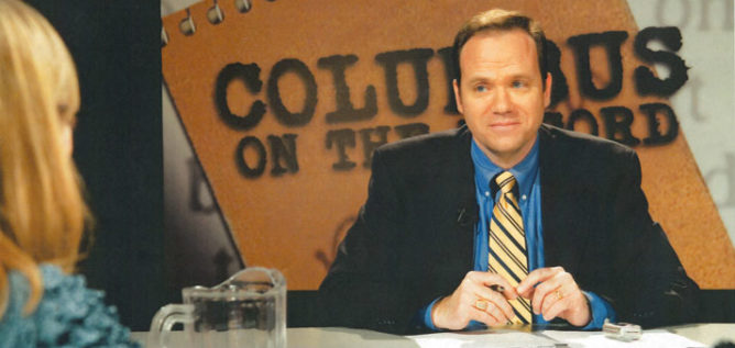 Mike Thompson hosting Columbus on the Record during its early years.