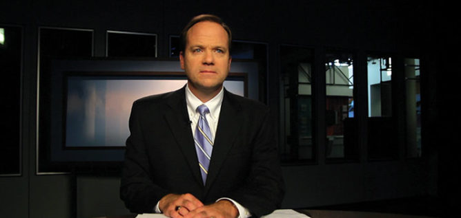 Mike Thompson at the Columbus On The Record anchor desk in 2015.