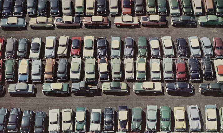A parking lot full of cars