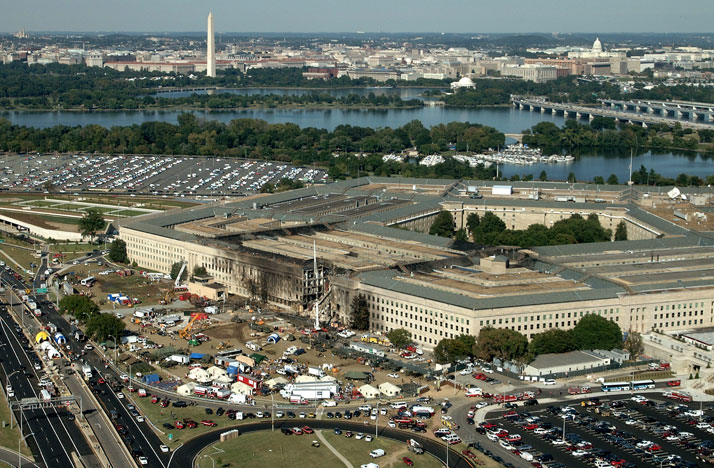 The Pentagon post 9/11 attack. Aerial with Washington Monument visible in the background.