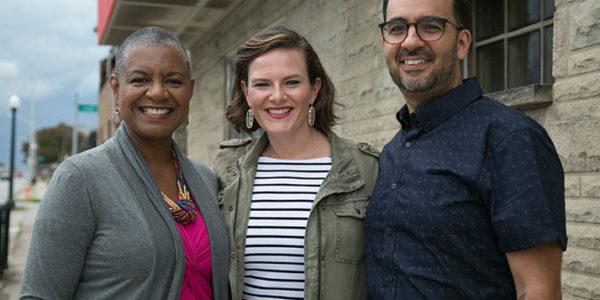 Columbus Neighborhoods co-host Charlene Brown, Broad & High host Kate Quickel and Columbus Neighborhoods co-host Javier Sanchez.