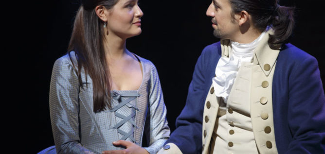 Phillipa Soo and Lin-Manuel Miranda in Hamilton's America.