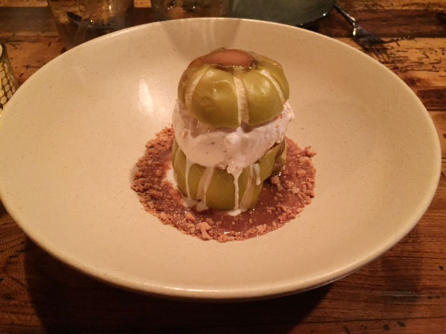 The baked apple a la mode, streusel at Rockmill Tavern. Photo: Steve ...