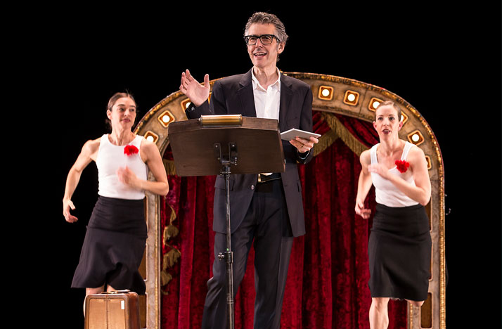 Ira Glass (center) performs in Three Acts, Two Dancers, One Radio Host.