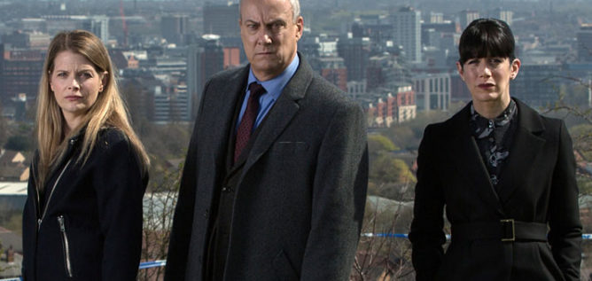 DS Annie Cabbot (ANDREA LOWE), DCI Alan Banks (STEPHEN TOMPKINSON) and DI Helen Morton (CAROLINE CATZ) in the fifth season of DCI Banks.