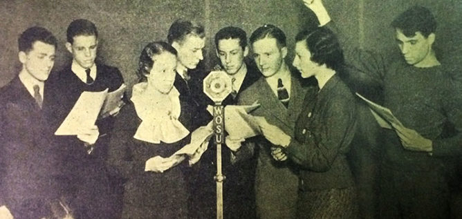 The WOSU Players perform a radio play in March 1935.