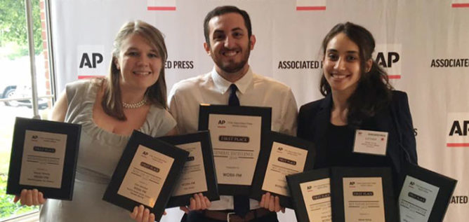 Representing WOSU at the Ohio Associated Press Managing Editors Awards ceremony were from left, All Things Considered host Clare Roth, digital news editor Gabe Rosenberg and reporter Esther Honig.