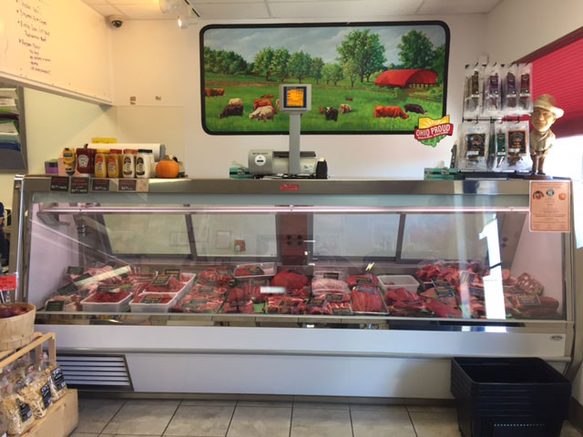 One of the meat cases at Bluescreek Farm Meats' new location in Plain City. Photo: Steve Stover.