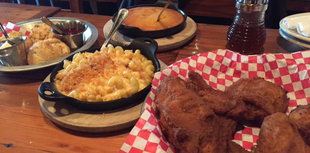 The menu at The Eagle Food & Beer Hall features fried chicken, mac and cheese, iron-skillet spoonbread and the drop biscuits . Photo: Steve Stover