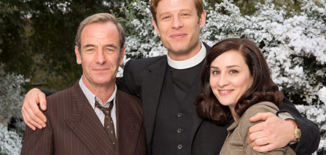 Robson Green as Geordie Keating, James Norton as Sidney Chambers and Morven Christie as Amanda in Grantchester Season 3 on Masterpiece.