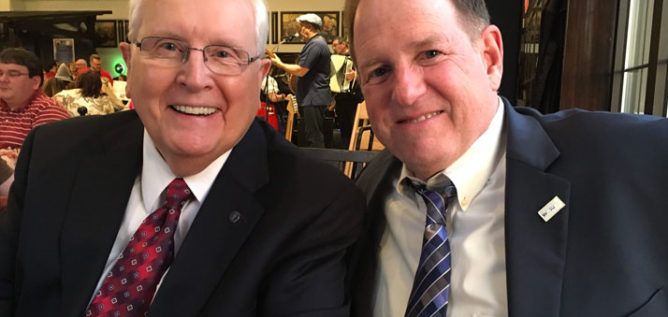 John Morison on the left with Tom Rieland, General Manager of WOSU Public Media at a Cleveland gathering.