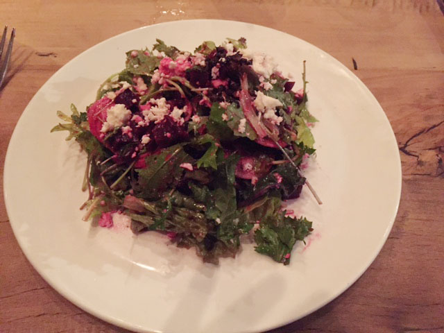 Watershed Kitchen & Bar's pickled-beet salad with feta cheese and citrus vinaigrette.