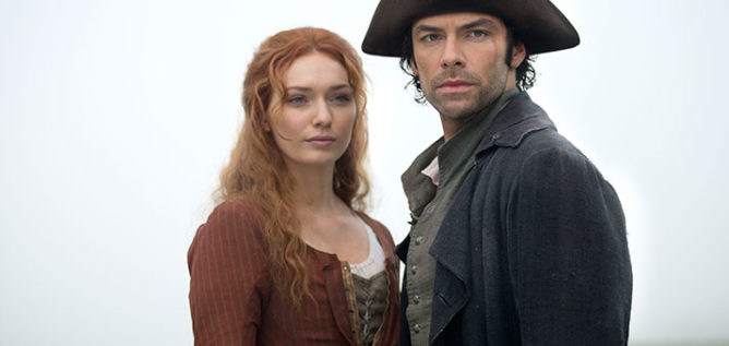 Eleanor Tomlinson as Demelza and Aidan Turner as Ross Poldark in the second season of Poldark.