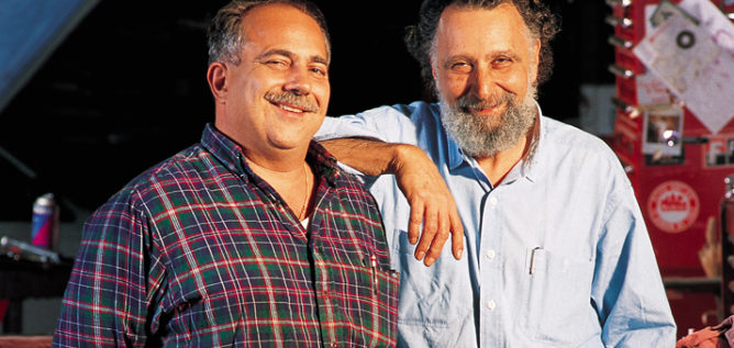 "Ray Magliozzi, left, and his brother, the late Tom Magliozzi, hosts of NPR's ""Car Talk."""