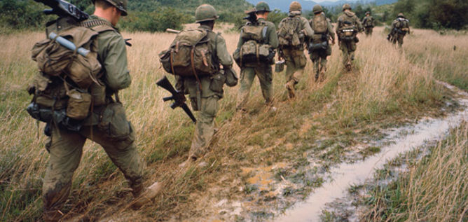 Soldiers on a search and destroy operation near Qui Nhon. January 17, 1967.