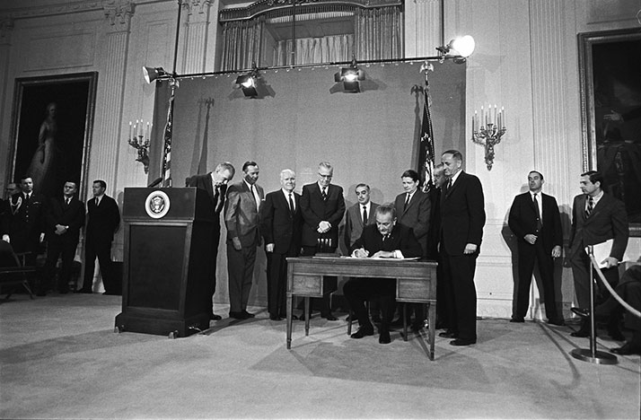 President Lyndon Baines Johnson signs the Public Broadcasting Act of 1967 into law.