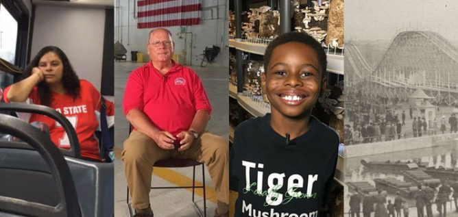 From our top videos of 2017 from left to right: Anita Rosvanis on one of her 90 minute bus rides each day to get to and from work; Col. Ron Albers talks about then-Lockbourne Air Force Base's role in the Vietnam War; Te'Lario Watkins, the 9-year-old behind Tiger Mushroom Farms; Olentangy Park amusement park.