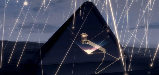 Cosmic ray muons on the cut of Khufu pyramid.